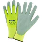 Touch Screen Hi Vis Yellow Nylon Shell Coated Gloves, Gray PU Palm Coat, Medium - Pkg Qty 12