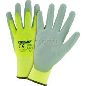Touch Screen Hi Vis Yellow Nylon Shell Coated Gloves, Gray PU Palm Coat, XL - Pkg Qty 12