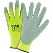 Touch Screen Hi Vis Yellow Nylon Shell Coated Gloves, Gray PU Palm Coat, XL - Pkg Qty 12