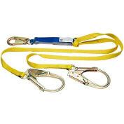 Werner® DeCoil Twinleg Lanyard, 6'L, Snaphooks W/ Rebar Hook