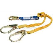Werner® DeCoil Stretch Twinleg Lanyard, 6'L, Snaphooks W/ Rebar Hook
