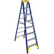 Werner 8' Type 1AA Fiberglass Contractor JobStation Ladder 375 lb. Cap - OBCN08