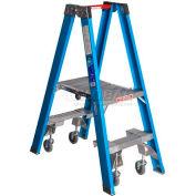 Werner 2' Type 1 Fiberglass Platform Ladder w/ Casters PT6002-4C