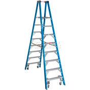 Werner 8' Type 1 Fiberglass Platform Ladder w/ Casters PT6008-4C