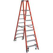 Werner 8' Type 1A Fiberglass Platform Ladder w/ Casters PT7408-4C