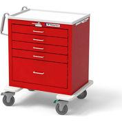 Waterloo Healthcare 5-Drawer Steel Short Emergency Cart, Lever Lock, Red