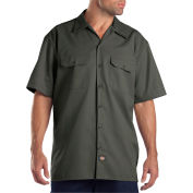 Dickies® Men's Short Sleeve Work Shirt, L Olive Green - 1574OG