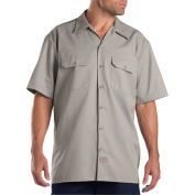 Dickies® Men's Short Sleeve Work Shirt, XL Silver - 1574SV