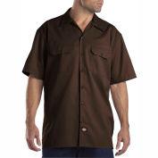 Dickies® Men's Short Sleeve Work Shirt, L Dark Brown - 1574DB