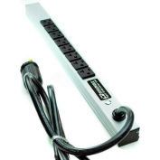 "Wiremold 2008ULBC20R-TL Power Strip, 125V, (8) 20A Outlets, 20""L, 6' Cord"