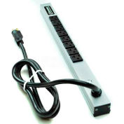 "Wiremold 2008ULBC20R Power Strip, 125V, (8) 20A Outlets, 20""L, 6' Cord"