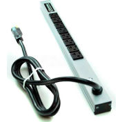 "Wiremold 2008ULBD20R Power Strip, 125V, (8) 20A Outlets, 20""L, 15' Cord"