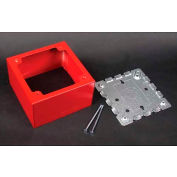 "Wiremold R5753 2-Gang Extra Deep Alarm Device Box, Red, 4""L - Pkg Qty 5"