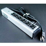 """Wiremold UL206BC Multi-Outlet Power Unit, 125V, 15A, 12-1/4""""L, 6 Outlets, 6' Cord"""
