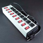 """Wiremold UL209BC Multi-Outlet Power Unit, 125V, 15A, 13""""L, 8 Outlets, 6' Cord"""