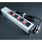 """Wiremold UL215BC Multi-Outlet Power Unit, 125V, 15A, 13""""L, 4 Outlets, 6' Cord"""