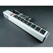 """Wiremold UL218BC Multi-Outlet Power Unit, 125V, 15A, 15""""L, 8 Outlets, 6' Cord"""