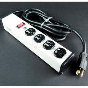 """Wiremold ULB420-6 Multi-Outlet Power Unit, 120V, 20A, 10-3/4""""L, 4 Outlets, 6' Cord"""