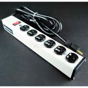 """Wiremold ULB620-15 Multi-Outlet Power Unit, 120V, 20A, 13-1/4""""L, 6 Outlets, 15' Cord"""