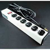 """Wiremold ULB620-6 Multi-Outlet Power Unit, 120V, 20A, 13-1/4""""L, 6 Outlets, 6' Cord"""