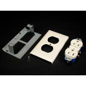 """Wiremold V3043ge Duplex Grounding Receptacle & Cover 15a, 125v (3-Wire), Ivory, 4-1/2""""L - Pkg Qty 10"""