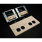 """Wiremold V4047-2wwxx Four-Gang Overlapping Cover, Two Duplex Receptacles, Ivory, 9-1/2""""L - Pkg Qty 5"""