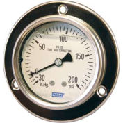 "2.5"" Type 233.55 3,000PSI/BAR Gauge - 1/4"" NPT LBM Stainless Steel"