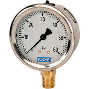 """2.5"""" Type 213.53 30"""" HG/60PSI Gauge - 1/4"""" NPT LM Stainless Steel"""