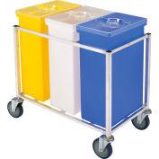 Winholt 148 PIB - Triple Ingredient Bin Cart, Aluminum Cart with 3 Plastic Bins