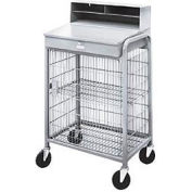 "Winholt Mobile Cabinet Shop Desk OTE-2227E1-GY See-Through Mesh & Riser 27W"" x 22""D x 49""H Gray"