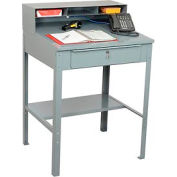 "32-1/2""W x 30""D Open Steel Receiving Desk - Gray"
