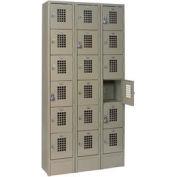 """Winholt Six Tier Locker WL-618/15 12""""W x 15""""D x 12""""H 3 Wide Gray Assembled"""