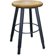 "WB Mfg 14"" Dia. Solid Welded Stool with Adjustable Legs, Clear Lacquer Hardwood Seat"
