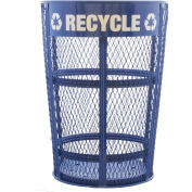 48 Gallon Expanded Metal Outdoor Recycling Unit w/Decal For Nameplate, Blue - EXP-52NPBLR