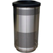Stadium Series® 35 Gallon Receptacle w/Flat Top Lid, Stainless Steel - SC35-01-SS-FT