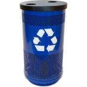 Stadium Series® 35 Gallon Recycling Unit, 1 Hole Flat Top Lid, Blue Streak II - SC35-02-BL-F1H