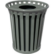 Wydman 36 Gallon Slatted Steel Receptacle w/Flat Top, Silver - WC3600-FT-SLV
