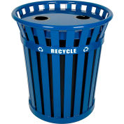 Wydman 36 Gallon Slatted Steel Recycling Receptacle w/2 Hole Opening Flat Top, Blue - WCR36-FTR-BL