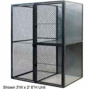 "Husky Rack & Wire Tenant Locker Double Tier Starter Unit  3' W x 3' D x 7'-6"" Tall W/Ceiling"