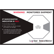 """SpotSee™ ShockWatch® Companion Labels, 8-3/4""""L x 5-3/4""""W, Black/Red/White, Roll of 200"""