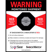 "SpotSee™ ShockWatch® 2 & RFID Companion Labels, 4-1/2"" x 5-3/4"", Black/Red/White, 200/Roll"