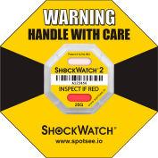 SpotSee™ ShockWatch® 25G Range 2 Serialized Framed Impact Indicators, Yellow, Box of 50