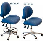 """WSI 1000 Series Chair 1000-CB-ESD-BK, ESD Fabric, Chrome Base, 18""""-23""""H, Black"""