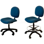 "WSI 500 Series Chair 500-ECR-BK, ESD Clean-Room Vinyl, Nylon Base, 18""-23""H, Black"
