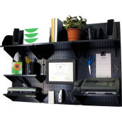 "Wall Control Office Wall Mount Desk Storage and Organization Kit, Black, 48"" X 32"" X 12"""