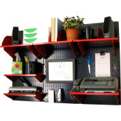 "Wall Control Office Wall Mount Desk Storage and Organization Kit, Black/Red, 48"" X 32"" X 12"""
