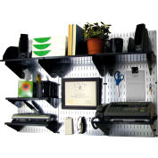 "Wall Control Office Wall Mount Desk Storage and Organization Kit, Galvanized Black, 48"" X 32"" X 12"""