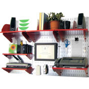 """Wall Control Office Wall Mount Desk Storage and Organization Kit, Galvanized Red, 48"""" X 32"""" X 12"""""""
