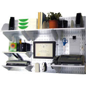 "Wall Control Office Wall Mount Desk Storage and Organization Kit, Galvanized White, 48"" X 32"" X 12"""