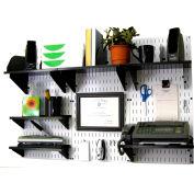 "Wall Control Office Wall Mount Desk Storage and Organization Kit, White/Black, 48"" X 32"" X 12"""